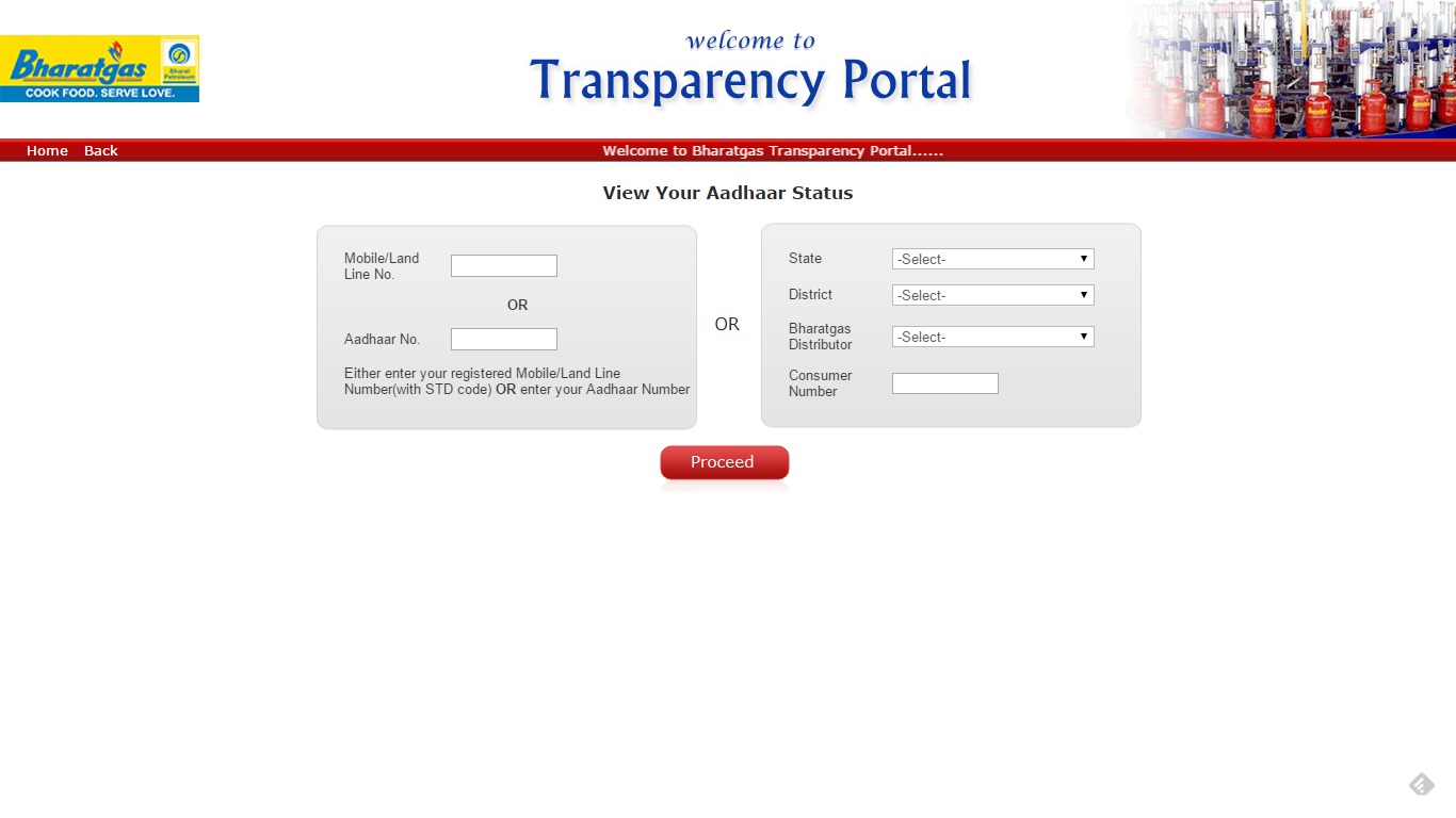 check aadhaar link status for Bharat Gas