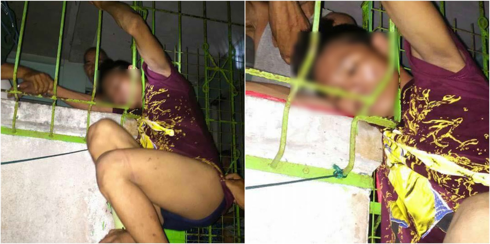 Akyat-bahay's head gets stuck in the metal grills while trying to escape
