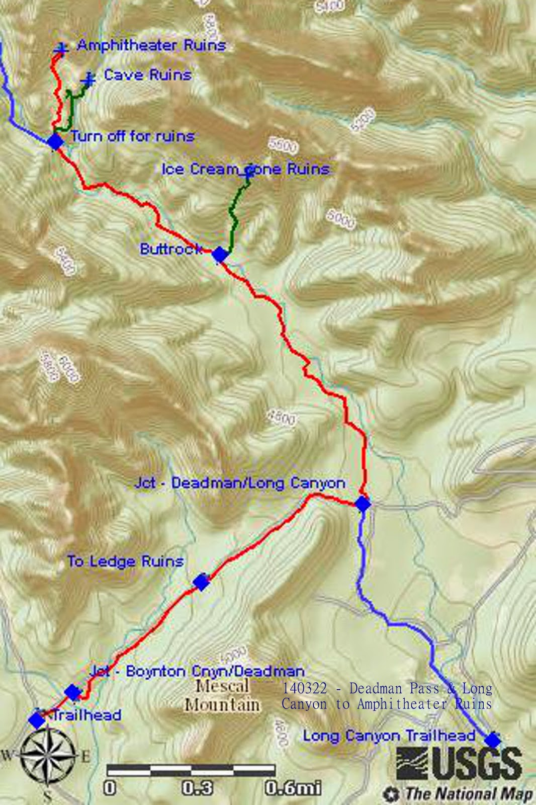 on the included map below parts of long canyon trail are shown in blue and the tracks to the other ruins discussed in this report are shown in green