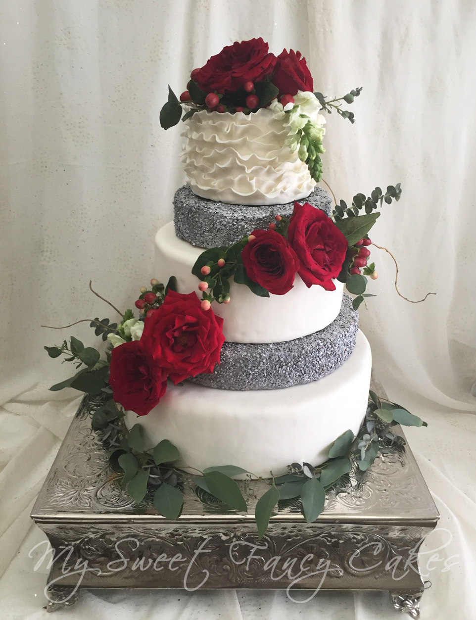 My Sweet Fancy Cakes: Sequin Red Rose Wedding Cake