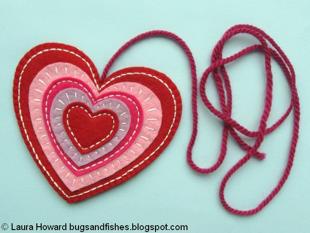 embroidered felt heart ready to add to the wreath