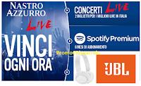 Logo Concorso ''Nastro Azzurro Live'' : vinci ogni ora Cuffie Wireless JBL, biglietti concerti, e Spotify Premium