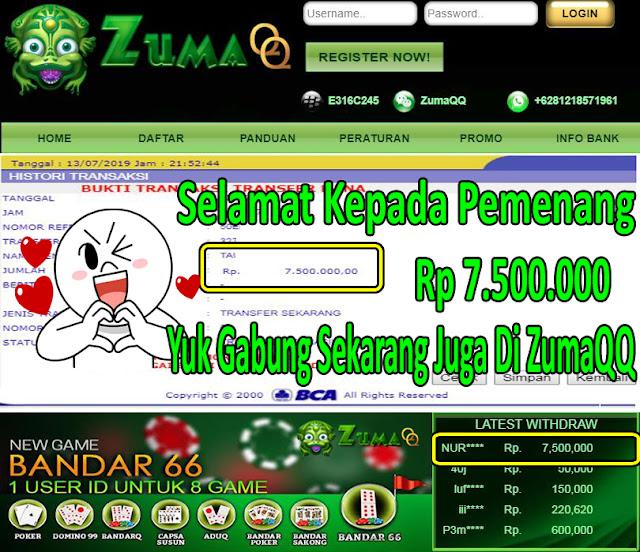 ZumaQQ Agen Poker Online Selamat Kepada Pemenang Periode 13 Juli 2019