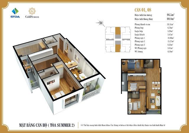 Mặt bằng thiết kế căn hộ GoldSeason
