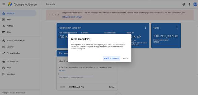 Kirim Ulang PIN Google Adsense