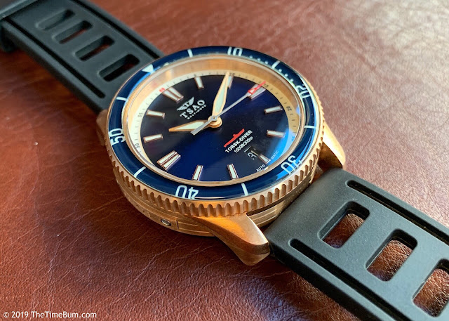 Tsao Baltimore Torsk-Diver bronze, blue dial, sapphire bezel