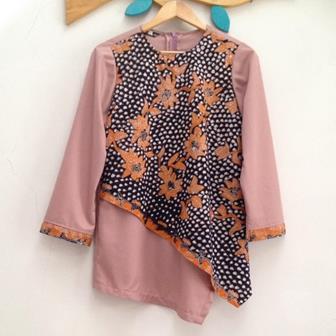 Model Baju Batik Kerja Kombinasi Kain Polos