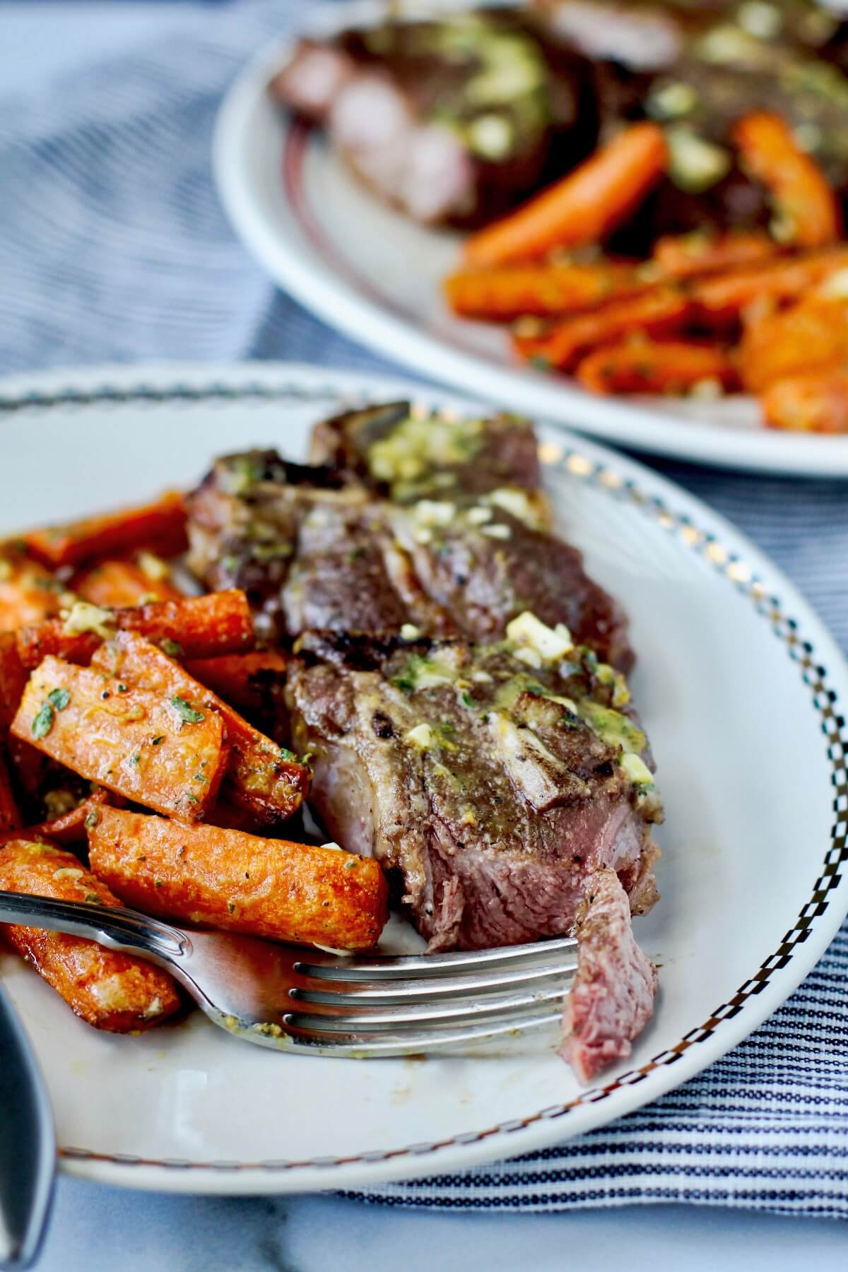 Air fryer lamb chops and carrots for dinner