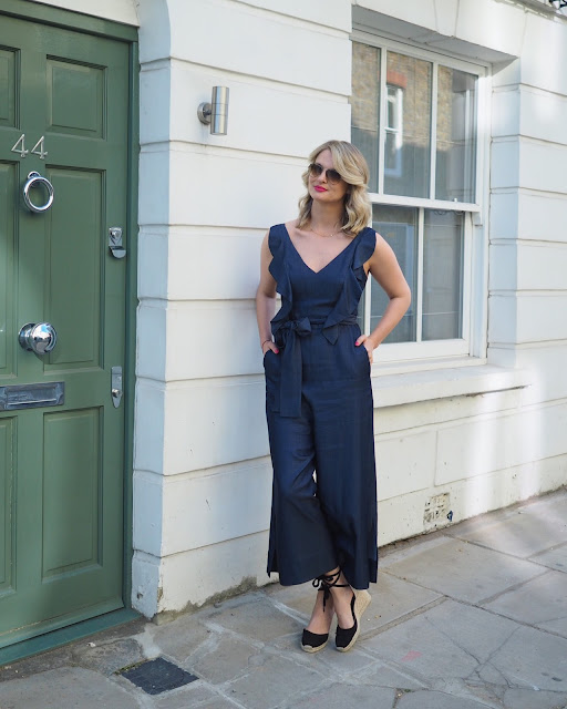 coast fabianna chambray jumpsuit, denim jumpsuit, espadrilles, castanet espadrilles, blow-dry, blonde hair