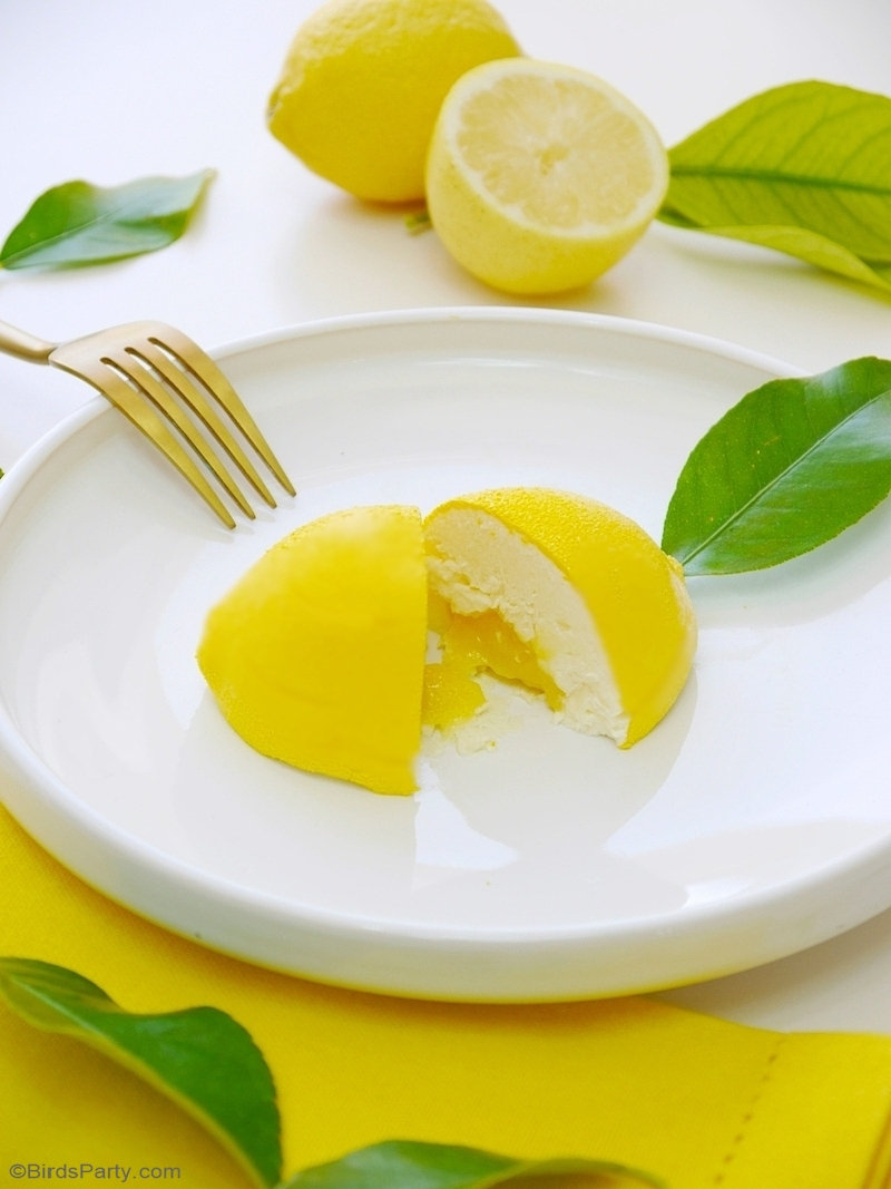 Lemon Shaped Mousse Recipe - lemon & white chocolate mousse shaped in a gorgeous lemon shell, perfect and delicious for a summer party! by BirdsParty.com @birdsparty #lemonmousse #lemon #dessert #recipe #lemonparty #citruspartyideas #summerdessert #nobakedessert #lemonshapedmousse