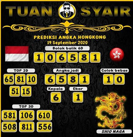 Prediksi Tuan Syair HK Sabtu 19 September 2020