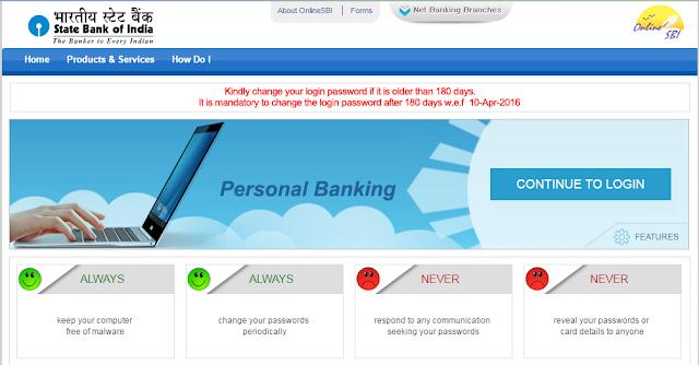 sbi net banking online personal banking login