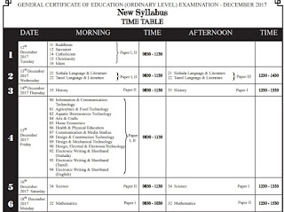 O/L Exam Time Table released Sri Lanka Exam Department website www.doenets.lk