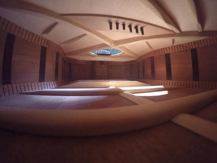 Futuristic architecture is really just a guitar deck, inside view