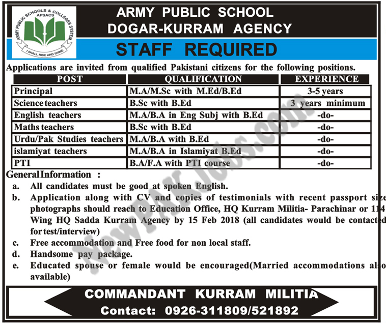 Army Public School Dogar kurram Agency Latest Jobs 2018