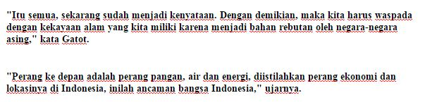 Panglima TNI Jendral Gatot Nurmantyo : Perang ke Depan Adalah Perang Pangan, Lokasinya di Indonesia - Commando