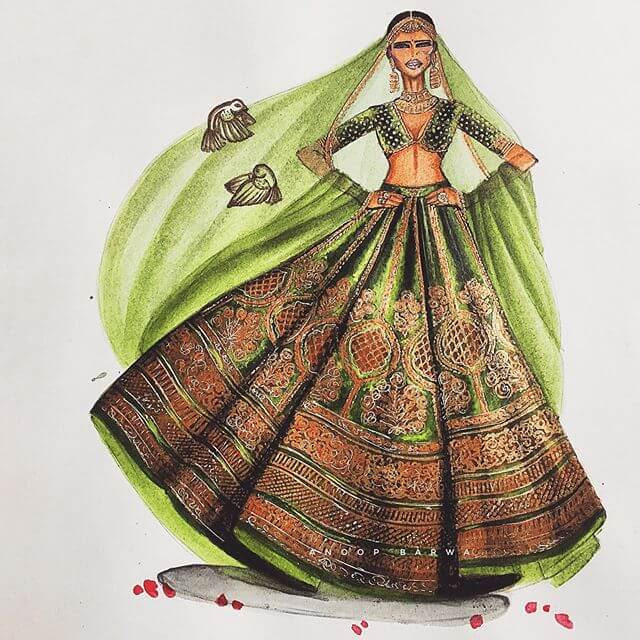 04-Indian-Dress-Drawings-Anoopbarwa-www-designstack-co