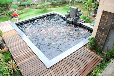 kolam minimalis dengan taman