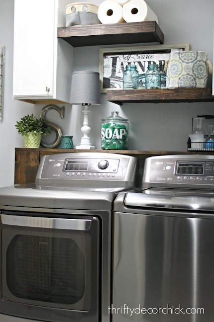 DIY shelves behind washer and dryer
