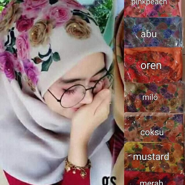 Jilbab Segi Empat Motif Bunga Timbul Warna Warni