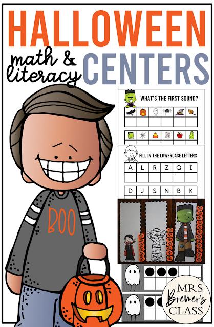 Kindergarten Halloween Activity Centers with Math & Literacy Activities