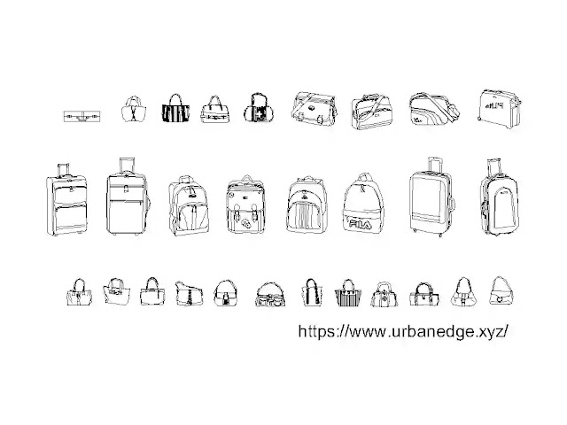 Bags and Suitcase cad blocks download, 25+ Bag dwg cad blocks