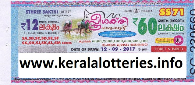 Kerala Lottery Result of Sthree Sakthi (SS-71) on 12-09-2017