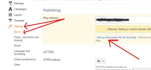 Step8 add bigrock custom domain to blogger