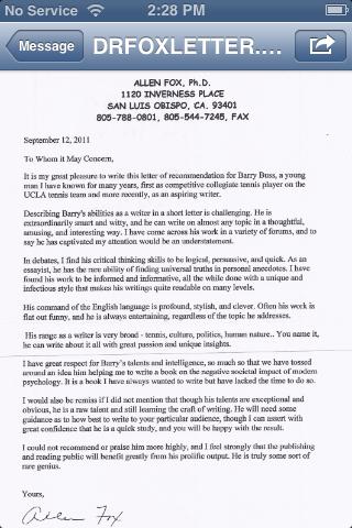 Reference Letter Medical School Letters Of Recommendation The Doctor Letter Of Recommendation From Dr Allen Fox