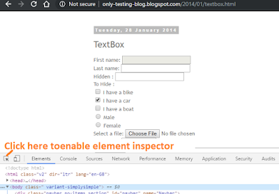 enable element inspector in chrome devtool