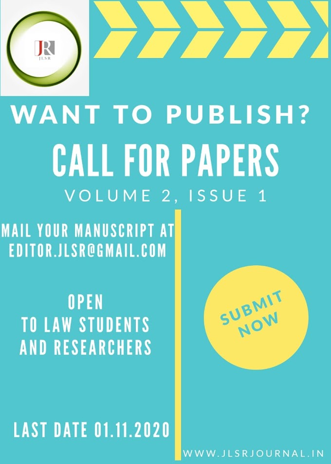 CALL FOR PAPERS@JLSR JOURNAL [VOLUME 2, ISSUE 1] : SUBMIT BY NOV 1ST, 202