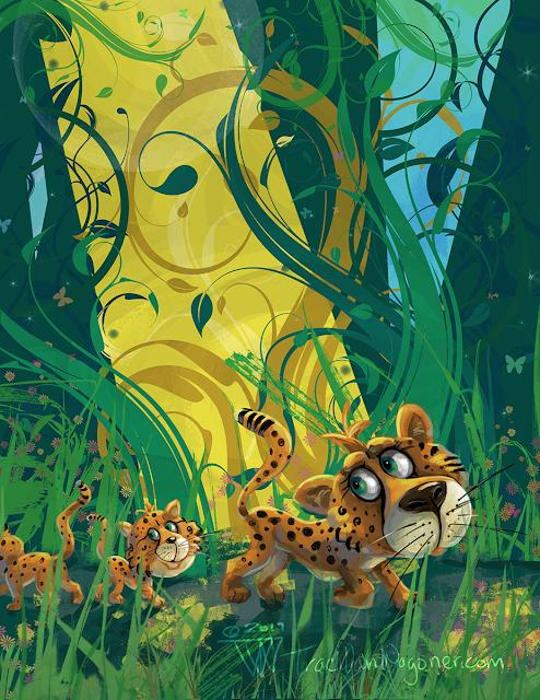 Cheetah Family in the Jungle children's art by Traci Van Wagoner