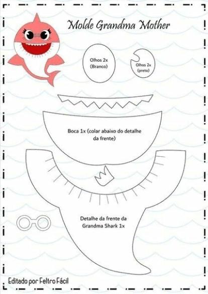 Molde Familia Baby Shark Em Feltro Feltro E Moldes Para Artesanato