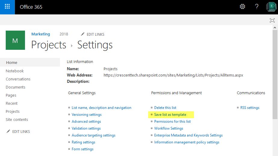 sharepoint online save list as template not available