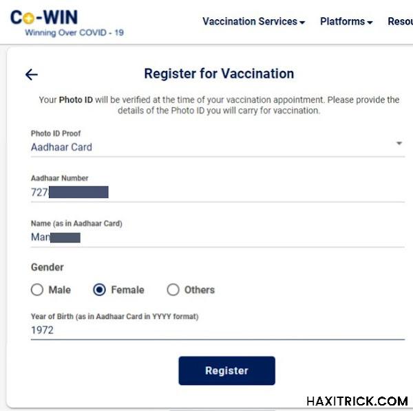 Register for Covid-19 Vaccination (Member Details)