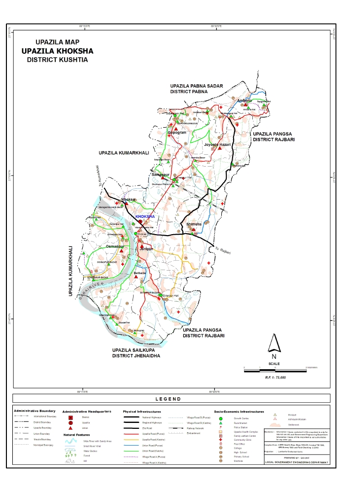 Khoksa Upazila Map Kushtia District Bangladesh