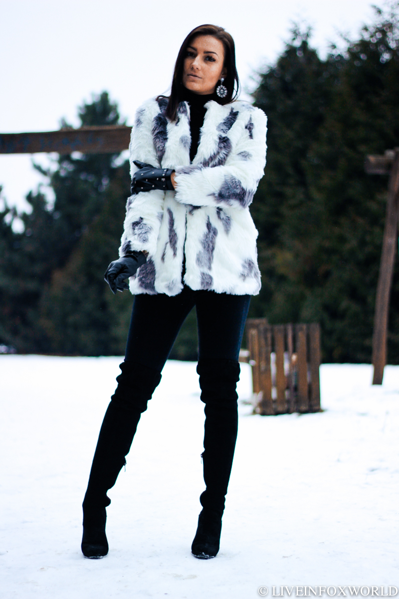gray faux fur coat