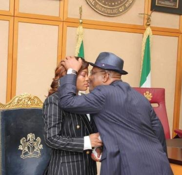 Lover boy Gov Wike kisses wife in public