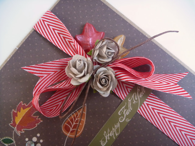 Red and White Chevron Ribbon Bow Topped with Small Roses and Leaf Stick Pins