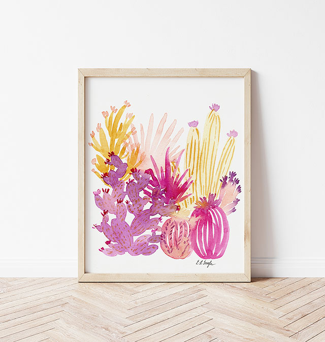 Original Watercolor Cactus in pink