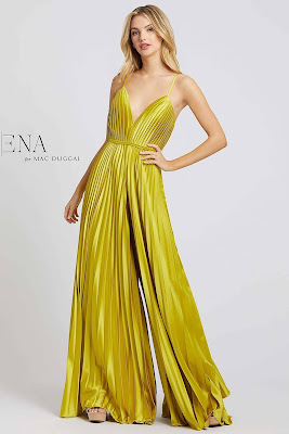 Pleated jump suit evening dress Ieena For Mac Duggal Chartreuse Color