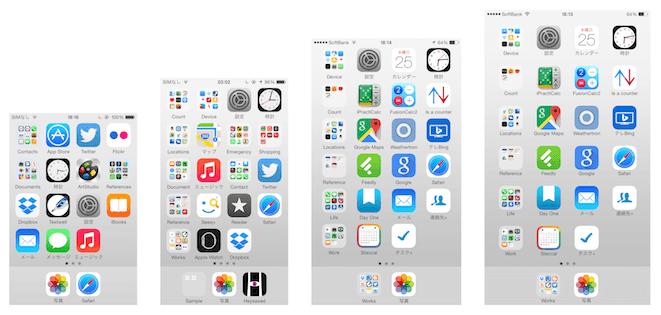 歴代iPhoneのホーム画面比較イメージ