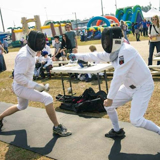 Greatmats rolled rubber floor at fencing competition