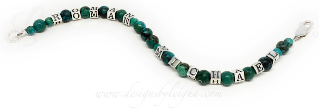 This Turquoise 1-string bracelet is shown with 2 names: Roman and Michael an a Lobster Claw Clasp.