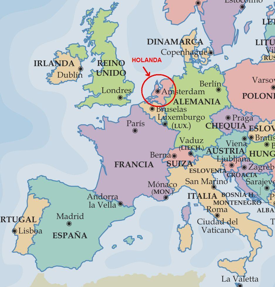 holanda mapa europa Mapa De Holanda En Europa holanda mapa europa