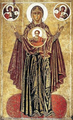 Oranta Θεοτόκος Δεομένη», ρωσική εικόνα του 13ου αιώνα, με πρότυπο την εικόνα της Παναγίας των Βλαχερνών