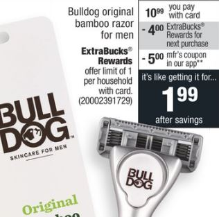 Schick or Bull Dog Razor CVS Deal FREE + $6.02 Money Maker