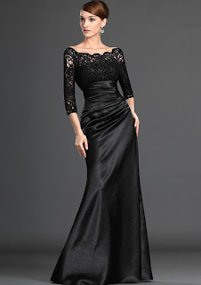 Sheath/Column 3/4 Sleeve Bateau Lace Pleated Zipper Back Elastic Satin Floor-Length Dresses