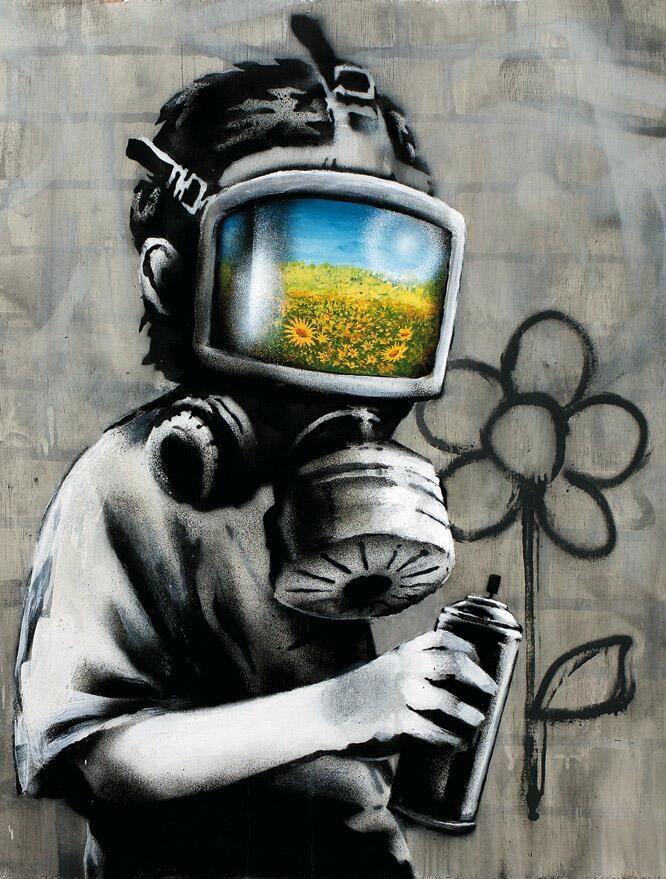 27958df7cc89 Bansky: Sunflower Field Gas Mask Girl Black And White | BlueisKewl