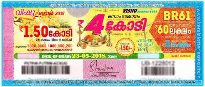 """Kerala Lottery Result; 23-05-2018 """"Vishu Bumper Lottery Results"""" BR-61"""